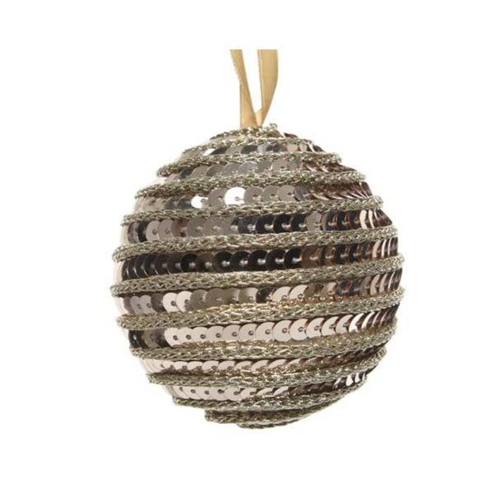 Foam Bauble With Sequins Natural Linen