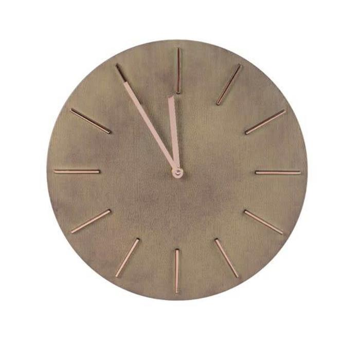 Clock Wood Finish With Gold Taupe