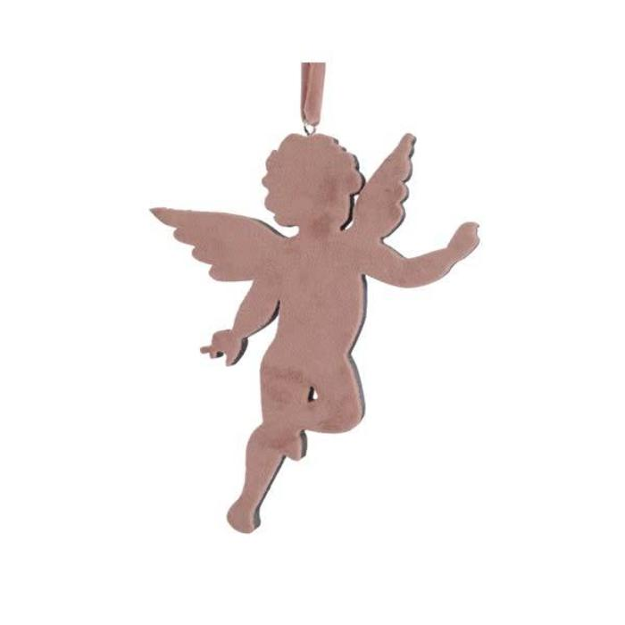 Plywood Angel With Velvet Rose Pink