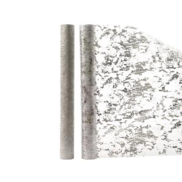 """Metallic Deco Fabric Silver 14"""" x 80"""""""