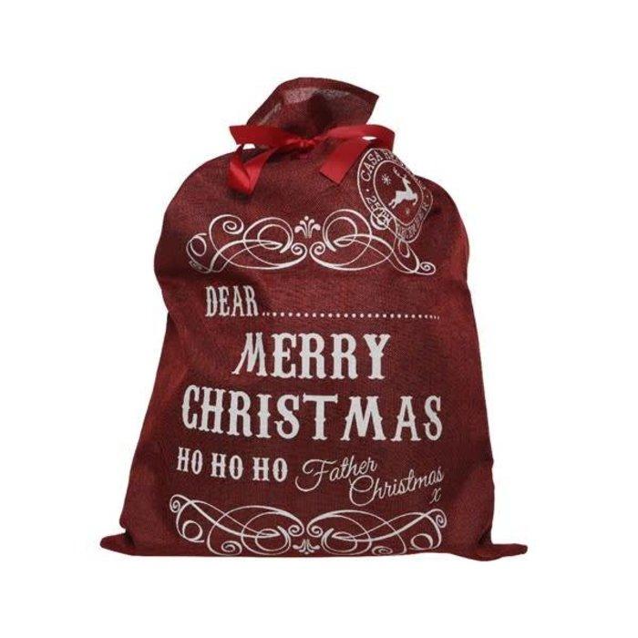 Jute Gift Bag Merry Christmas Red