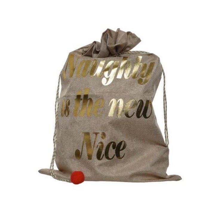 Jute Gift Bag Naughty or Nice Natural