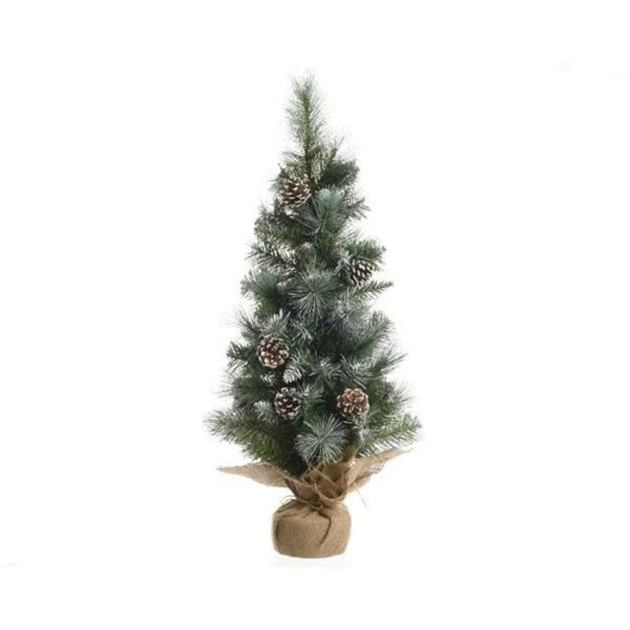 Frosted Hard Needle Mini Tree Green and White