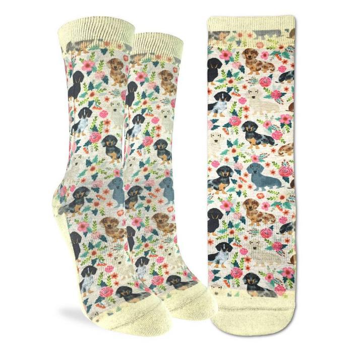 Women's Floral Dachshunds Socks