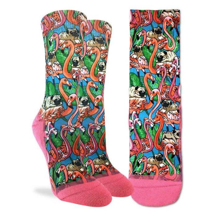 Women's Pugs and Flamingos Socks