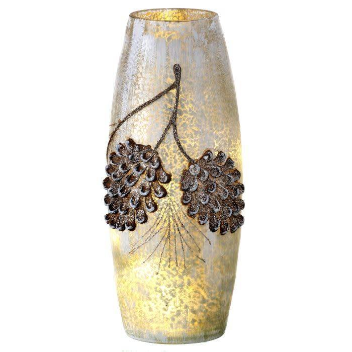 LED Frosted Glass Pine Cone Vase 10""