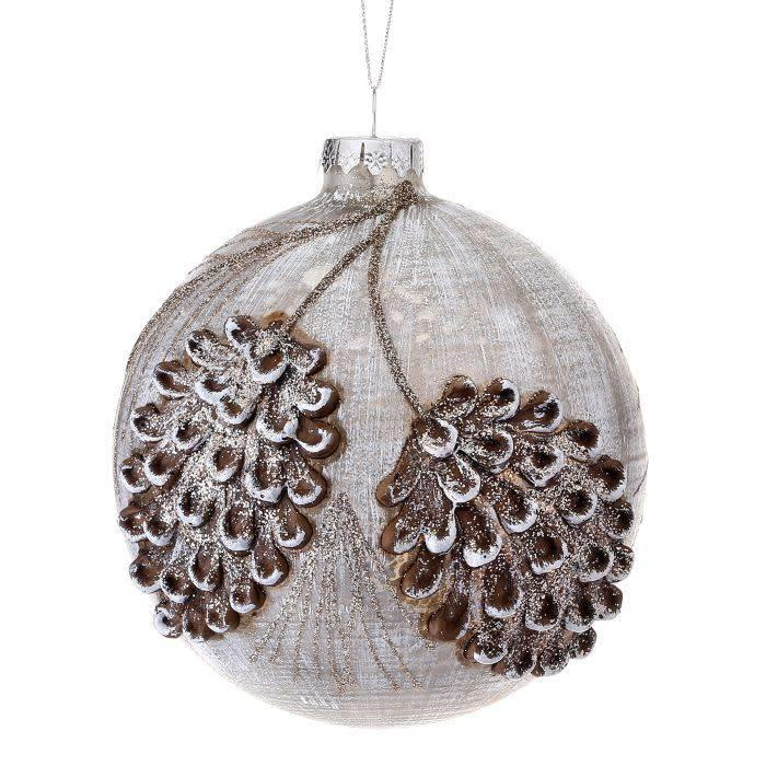Frosted Glass Pine Cone Ball Ornament 5""