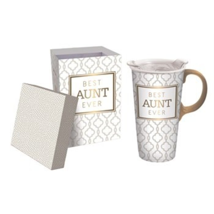 Ceramic Travel Cup Best Aunt Ever 17oz