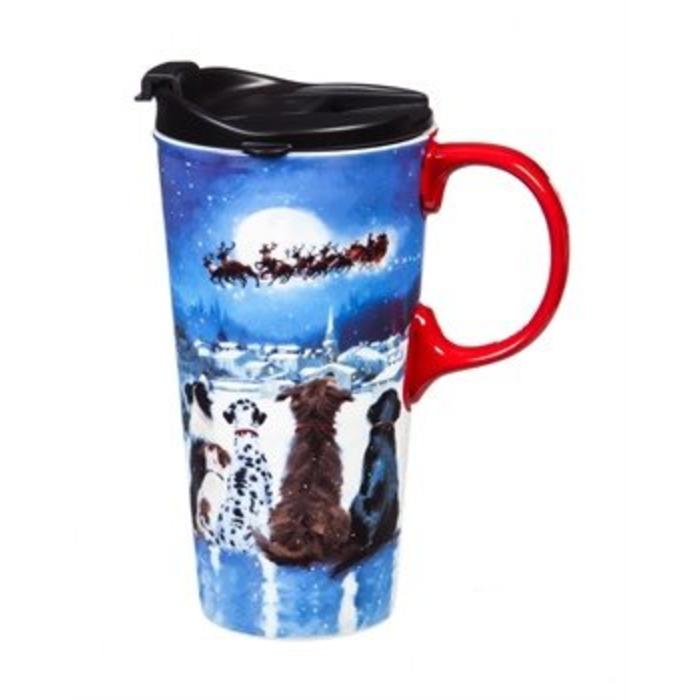 Ceramic Travel Cup Christmas Dogs 17oz