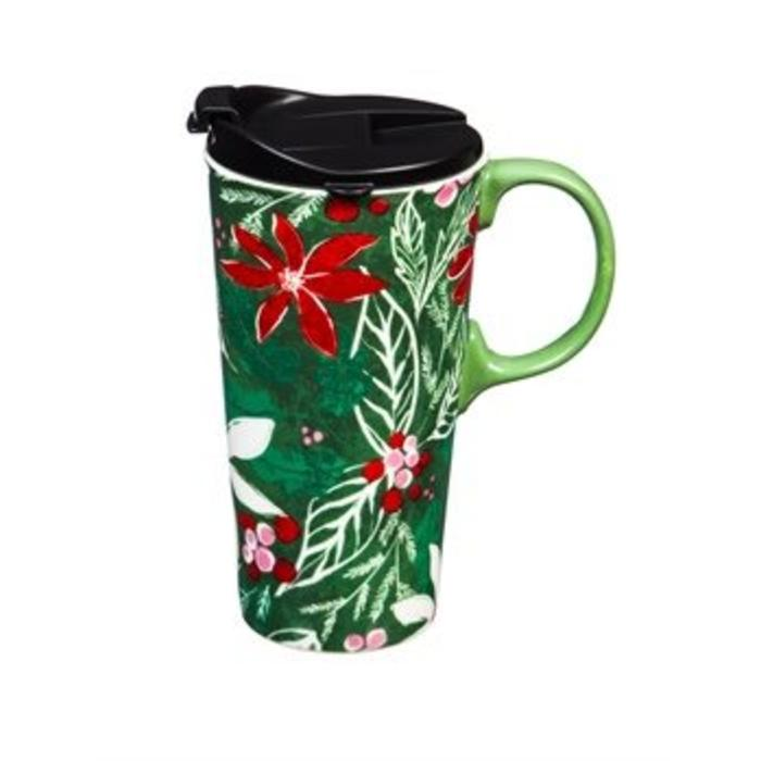 Ceramic Travel Cup Green Holly 17oz