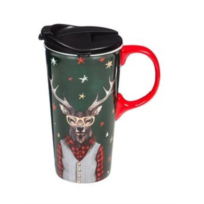 Ceramic Travel Cup Holiday Deer 17oz