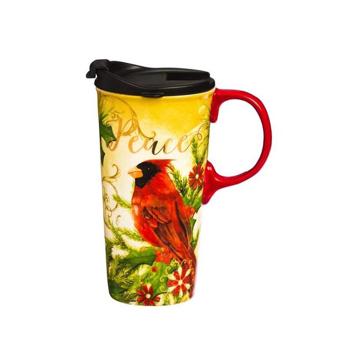 Ceramic Travel Cup Peace Cardinal 17oz