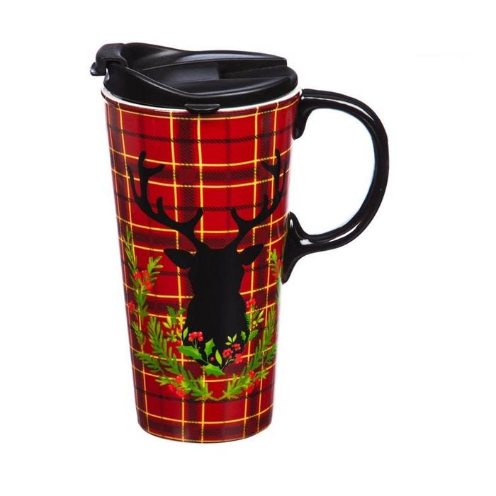 Ceramic Travel Cup Plaid Stag 17oz