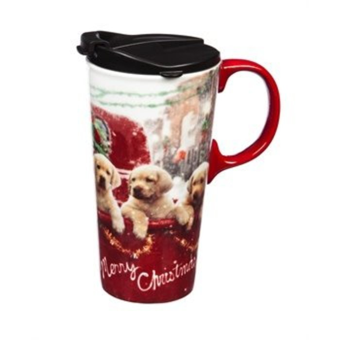 Ceramic Travel Cup Puppies in Truck 17oz