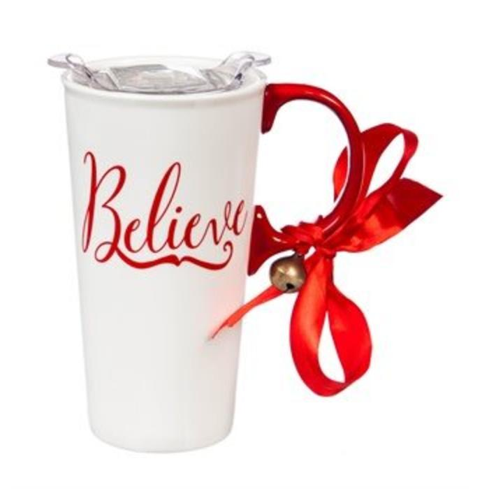 Ceramic Travel Cup Red and White Believe 17oz