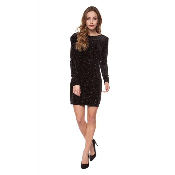 Open Back Studded Velvet Dress