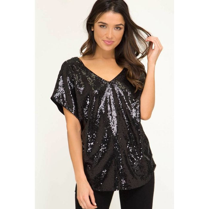 Drop Shoulder Sequin Top