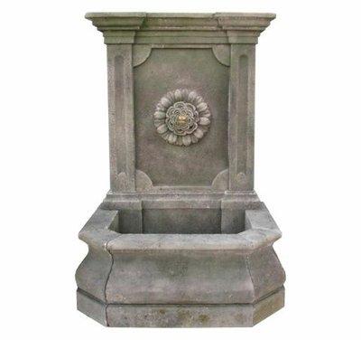 Limestone Fontana A Muro Fiore Con Foglie