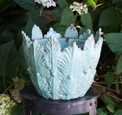 Italian Ceramics Aqua Botanical Planter