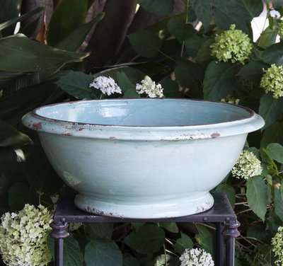 Italian Ceramics Aqua European Large Bowl