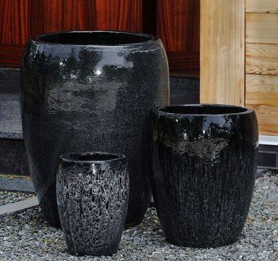 Glazed Polaris Planter Set of Three