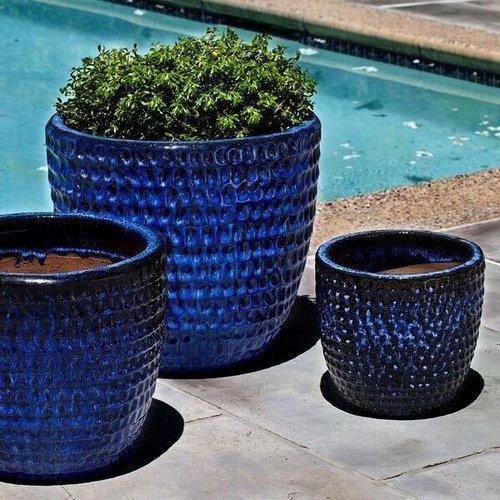 Glazed Dimple Glaze Planter Set of Three