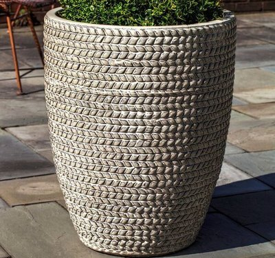 Glazed Tall Sisal Weave Planter Set of Three