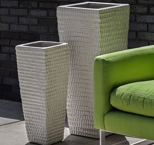Glazed Tall Square Dimple Planter Set of Two