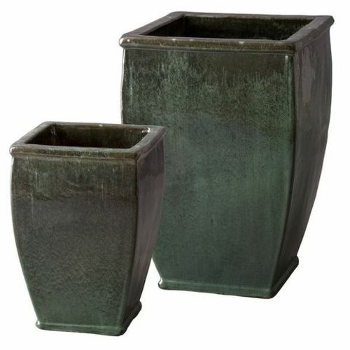Glazed Square Planter Set of Two