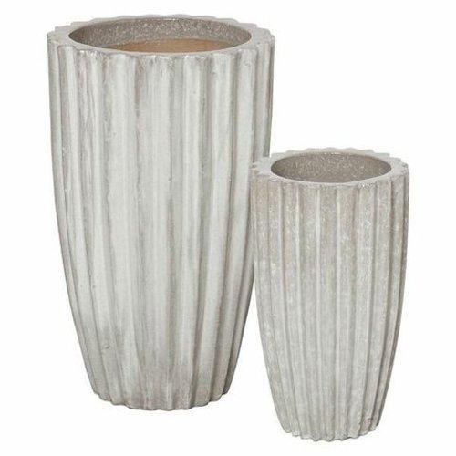 Glazed Tall Ridge Planter Set of Two