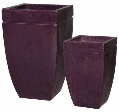 Glazed Square Planter with Border Set of Two