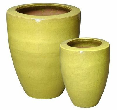 Glazed Rimmed Planter Set of Two