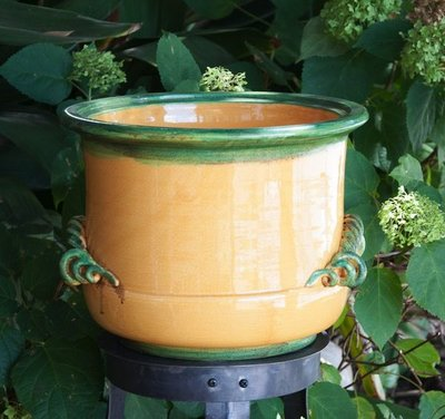 Italian Ceramics Ochre Planter with Scroll Handles