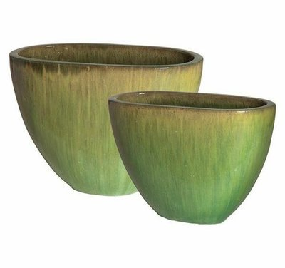 Glazed Melon Oval Planters Set of Two