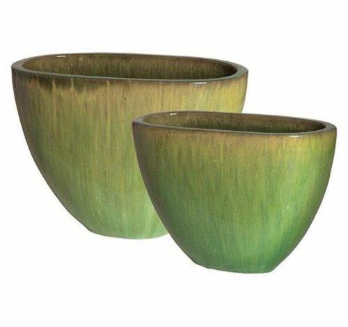 Glazed Melon Oval Planters Set of Two