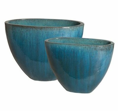 Glazed Blue Oval Planters Set of Two