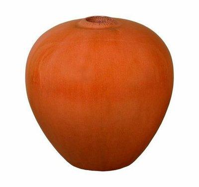 Glazed Bright Orange Sphere Vase