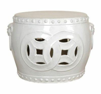 Glazed White Double Fortune Stool