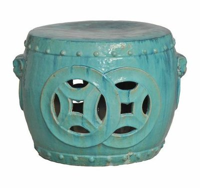 Glazed Antique Green Double Fortune Stool