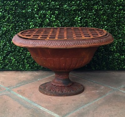 Cast Iron Rusted Oblong Urn