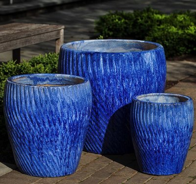 Glazed Vortex Planter Set of Three