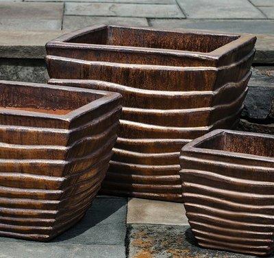 Glazed Ipanema Square Planter Set of Three