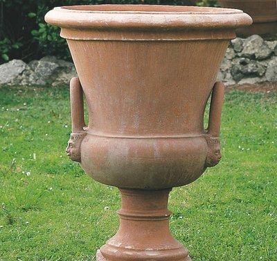 Italian Terracotta Vaso A Campana Con Piede E Manici