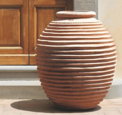 Italian Terracotta Orcio A Righe Greco