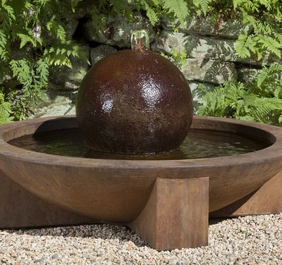 Cast Stone Low Zen Sphere Fountain