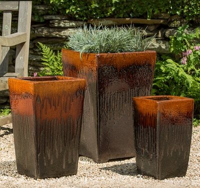 Glazed Borneo Planter Set of Three