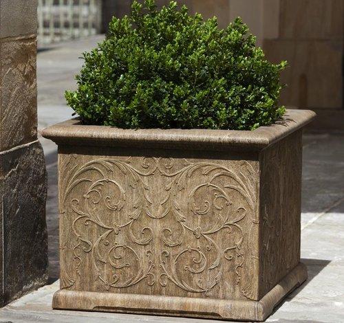 Cast Stone Arabesque Square Planter