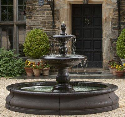 Cast Stone Caterina Fountain in Basin
