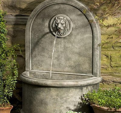 Cast Stone Lion Wall Fountain