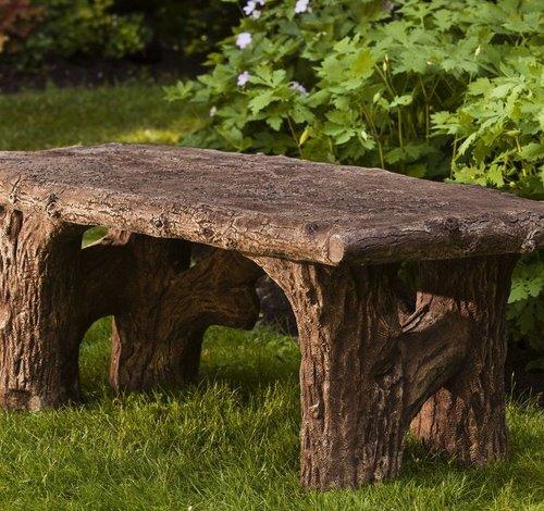 Cast Stone Faux Bois Bench